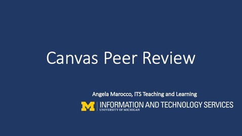 Thumbnail for entry Canvas Peer Review