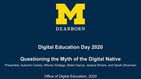 Thumbnail for entry Digital Education Day 2020 - Questioning the Myth of the Digital Native