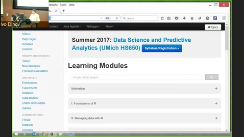 Thumbnail for entry DSPA Chapter 20 Prediction and Internal Statistical Cross-validation