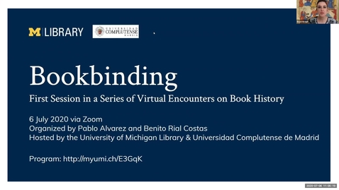 Thumbnail for entry Bookbinding, First Session in a Series of Virtual Encounters on Book History