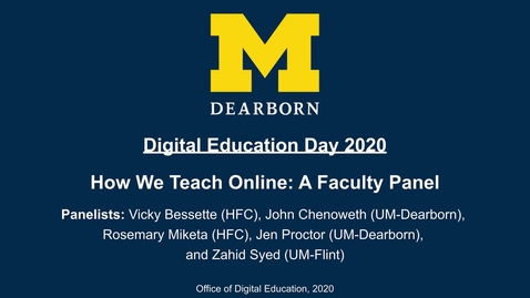 Thumbnail for entry Digital Education Day 2020 - How We Teach Online: A Faculty Panel