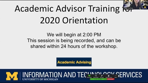 Thumbnail for entry Academic Advisor Training on ITS Tools for Orientation - May 8, 2020