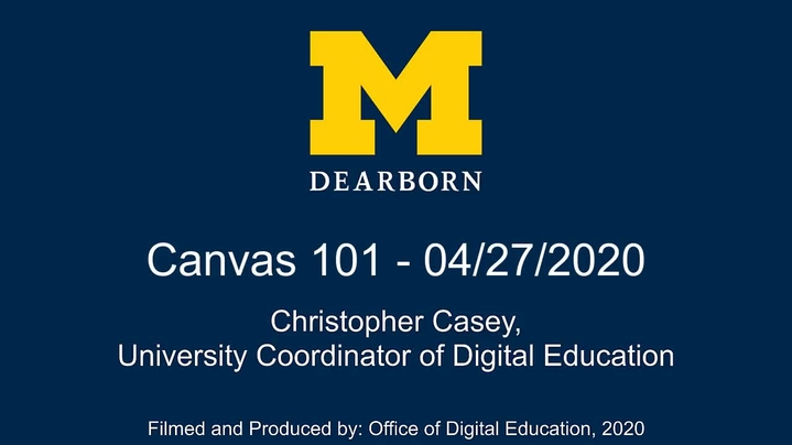 Thumbnail for channel UM-Dearborn Canvas Training and How-To Videos for Faculty