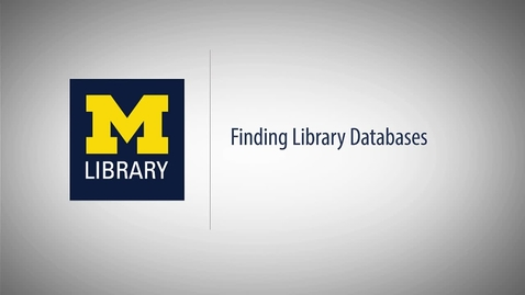 Thumbnail for entry Finding Library Databases