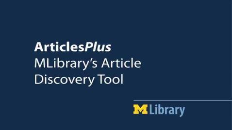 Thumbnail for entry ArticlesPlus