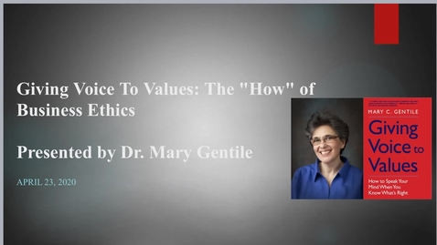 """Thumbnail for entry Giving Voice to Values : The """"How"""" of Business Ethics"""