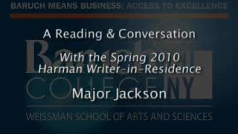 Thumbnail for entry Writer-in-Residence (Spring 2010): Major Jackson