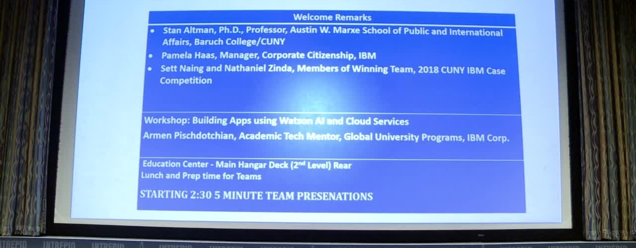 2019 CUNY IBM Watson Case Competition : Boot Camp (Part 2)