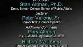 Peter Vallone on NYC and the State Government