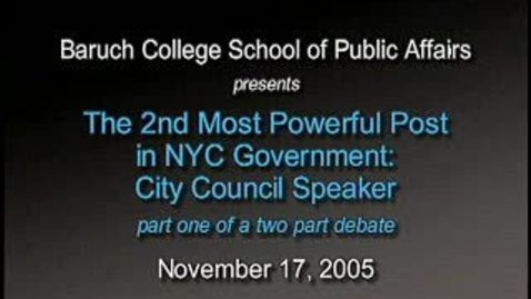 Thumbnail for entry Meet the Candidates: New York City Council Speaker Debate