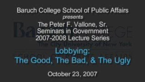 Thumbnail for entry Lobbying: The Good, The Bad, & The Ugly
