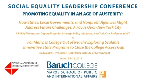 Thumbnail for entry Social Equality Leadership Conference. Promoting Equality in an Age of Austerity.