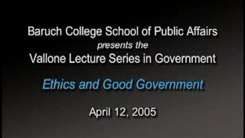 Thumbnail for entry Peter Vallone on Ethics and Good Government
