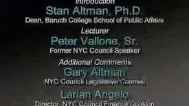 Peter Vallone on New York City Budget