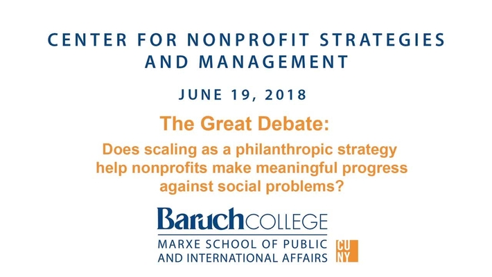 The Great Debate: Does scaling as a philanthropic strategy help nonprofits make meaningful progress against social problems?