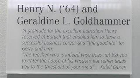 Thumbnail for entry Dedication of the Henry and Geraldine Goldhammer Classroom