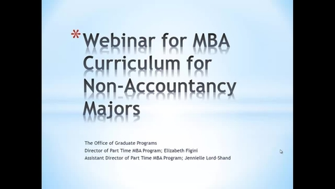 Thumbnail for entry Webinar for MBA curriculum for non-accountancy majors