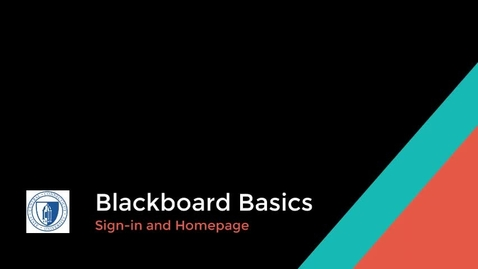 Thumbnail for entry Blackboard Sign-in and Homepage