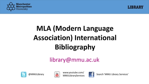 Thumbnail for entry MLA (Modern Language Association) International Bibliography