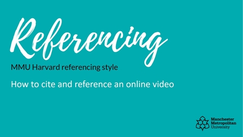 Thumbnail for entry How to cite and reference an online video