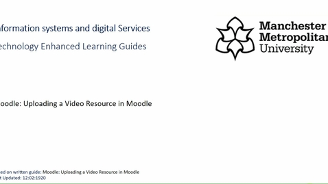 Thumbnail for entry Upload a Video Resource in Moodle