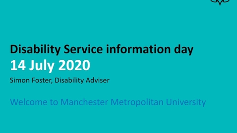 Thumbnail for entry Disability Service pre entry event 2020- Welcome and introduction