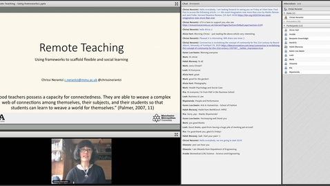 Thumbnail for entry Remote teaching: using frameworks to scaffold flexible and social learning