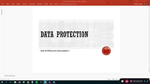 Thumbnail for entry Law and Ethics 1: Data protection and journalists