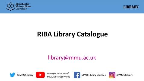 Thumbnail for entry RIBA library catalogue