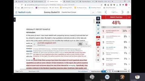 Thumbnail for entry Marking with TurnItIn Session (January 2021) - Including feedback studio & originality reports