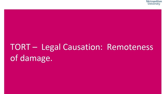 WITH SOUND Legal causation remoteness of damage