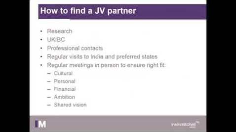 Thumbnail for entry Joint Ventures - Getting it Right in the Indian Market Webinar