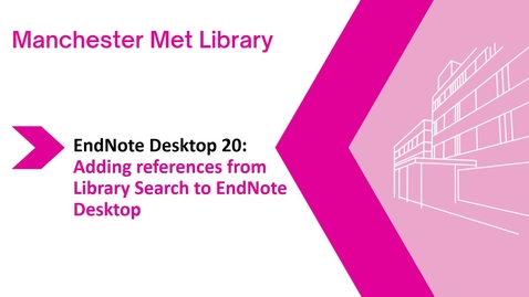 Thumbnail for entry Endnote Desktop 20: adding references from Library Search