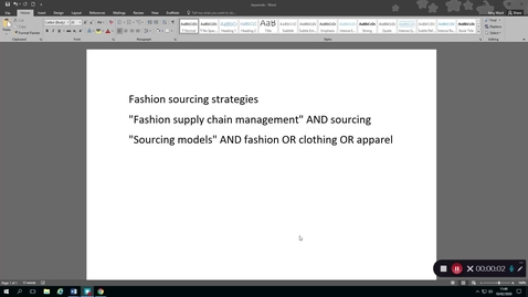 Thumbnail for entry Finding fashion sourcing journal articles