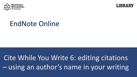 Thumbnail for entry Cite While You Write 6: using an author's name in your writing