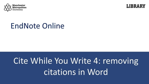 Thumbnail for entry Cite While You Write 4: removing citations in Word