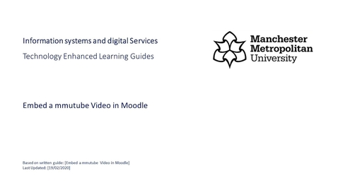 Thumbnail for entry Embedding an mmutube Video in Moodle