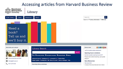 Accessing articles from  Harvard Business Review