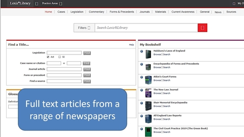Thumbnail for entry LexisLibrary: accessing newspaper articles