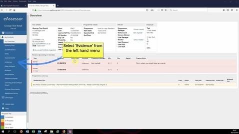 Thumbnail for entry Uploading evidence to eAssessor