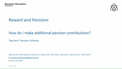 Thumbnail for entry How do I make additional pension contributions (Teachers' Pension Scheme)