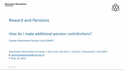 Thumbnail for entry How do I make additional pension contributions (GMPF)