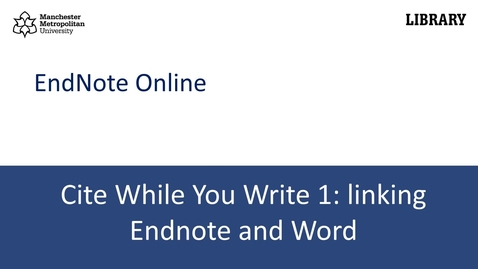 Thumbnail for entry Cite While You Write 1: linking your Endnote library with Word