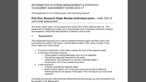 Thumbnail for entry Information Systems Management & Strategy - Referred Coursework 1617
