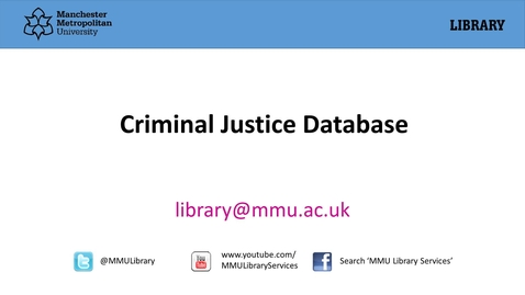 Thumbnail for entry Criminal Justice Database