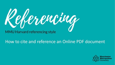 Thumbnail for entry How to cite and reference an Online PDF document