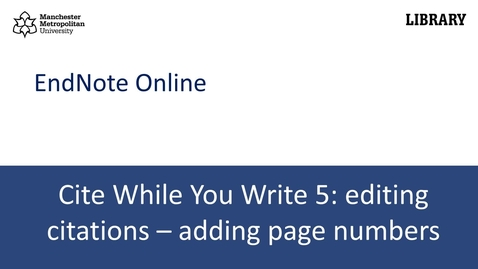 Thumbnail for entry Cite While You Write 5: adding page numbers to citations