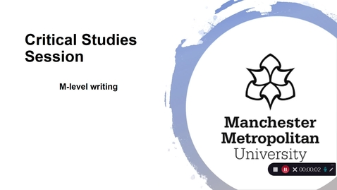Thumbnail for entry Critical Studies: M-level writing
