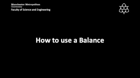 Thumbnail for entry How to use a  Balance