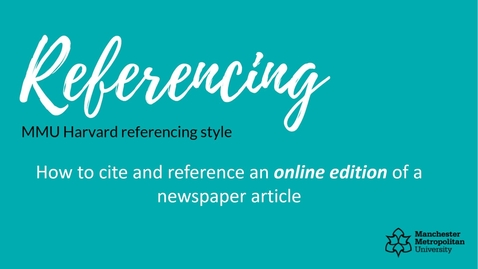 Thumbnail for entry How to cite and reference an ONLINE edition of a newspaper article
